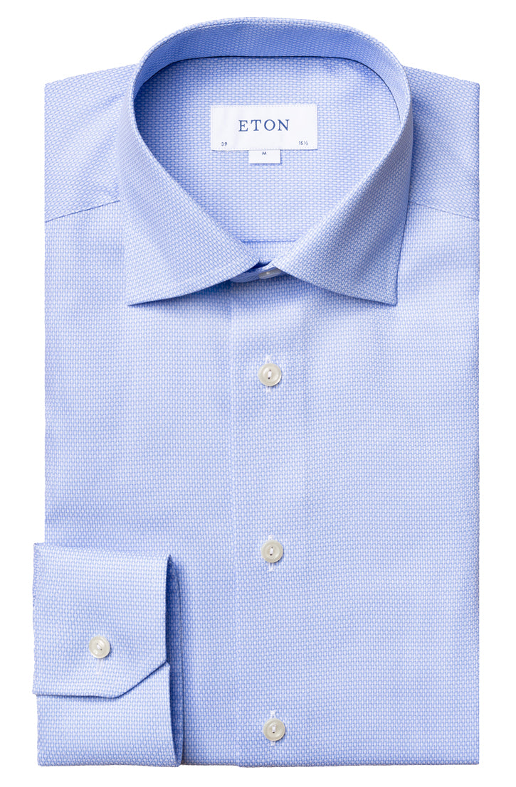 BLUE ON WHITE TEXTURED MICRO CIRCLE SHIRT