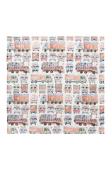 TRUCKS AND BUSES WHITE COTTON POCKET SQUARE