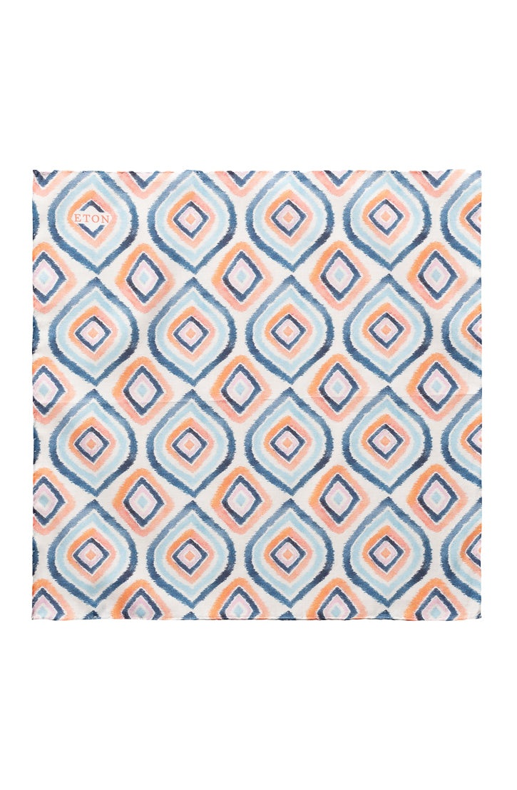 WHITE BLUE AND ORANGE GEOMETRIC PRINT COTTON POCKET SQUARE