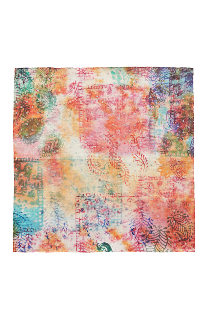 SUNRISE FLORAL PRINT LINEN POCKET SQUARE