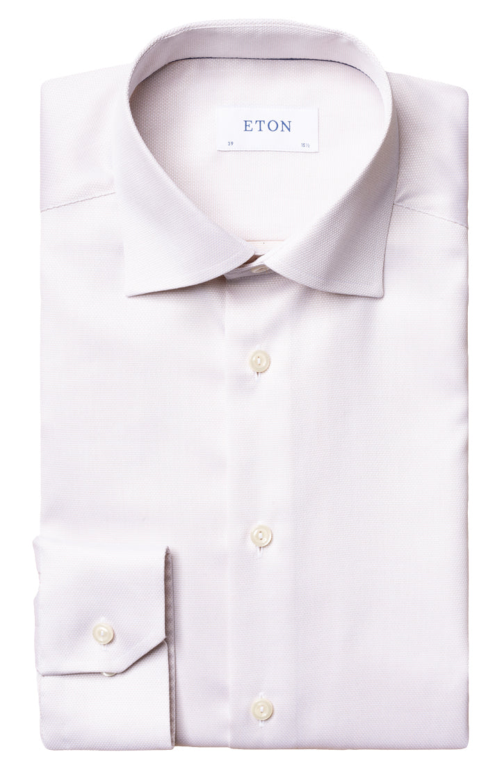 TEXTURED OFF-WHITE SHIRT WITH TONAL PIPING