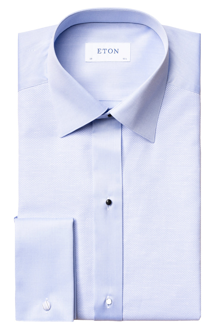 LIGHT BLUE TEXTURED HONEYCOMB EVENING SHIRT