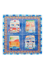 INDIAN BUSES PRINT MULTICOLORED COTTON POCKET SQUARE
