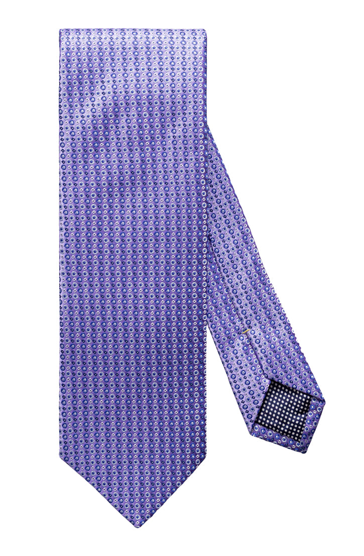 SMALL GEOMETRIC PRINT PURPLE SILK TIE