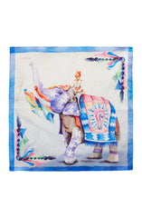 INDIAN ELEPHANT PRINT WHITE AND BLUE COTTON POCKET SQUARE