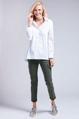 TRAPEZE LONG SLEEVE TOP - WHITE
