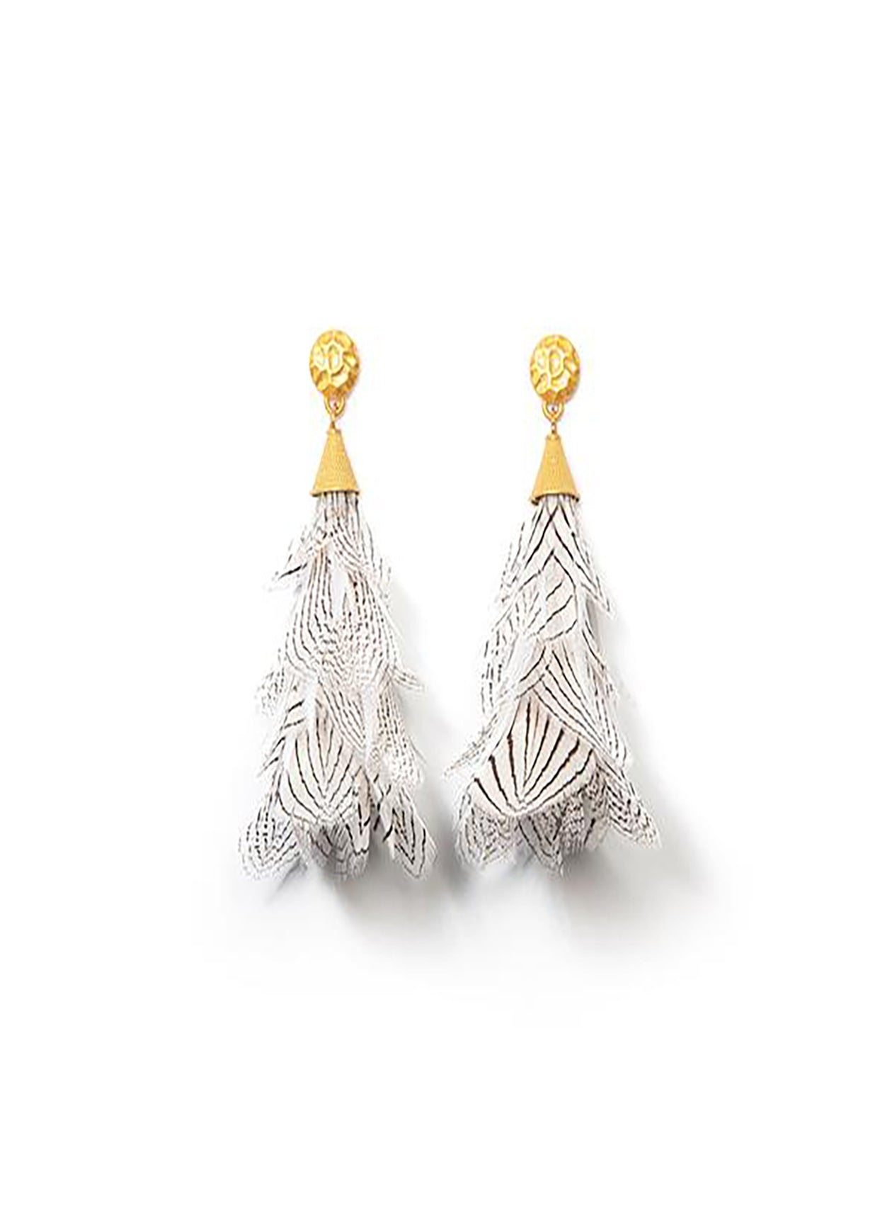 GAULT FEATHER EARRINGS WITH GOLD NUGGET