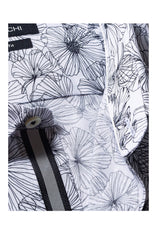 INK FLOWER PRINT SHAPED FIT SHIRT - WHITE