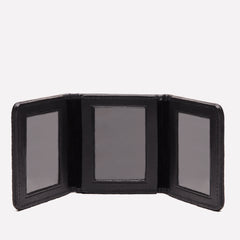 LIFESTYLE SMALL LEATHER BOUND TRIPLE PHOTO FRAME - BLACK