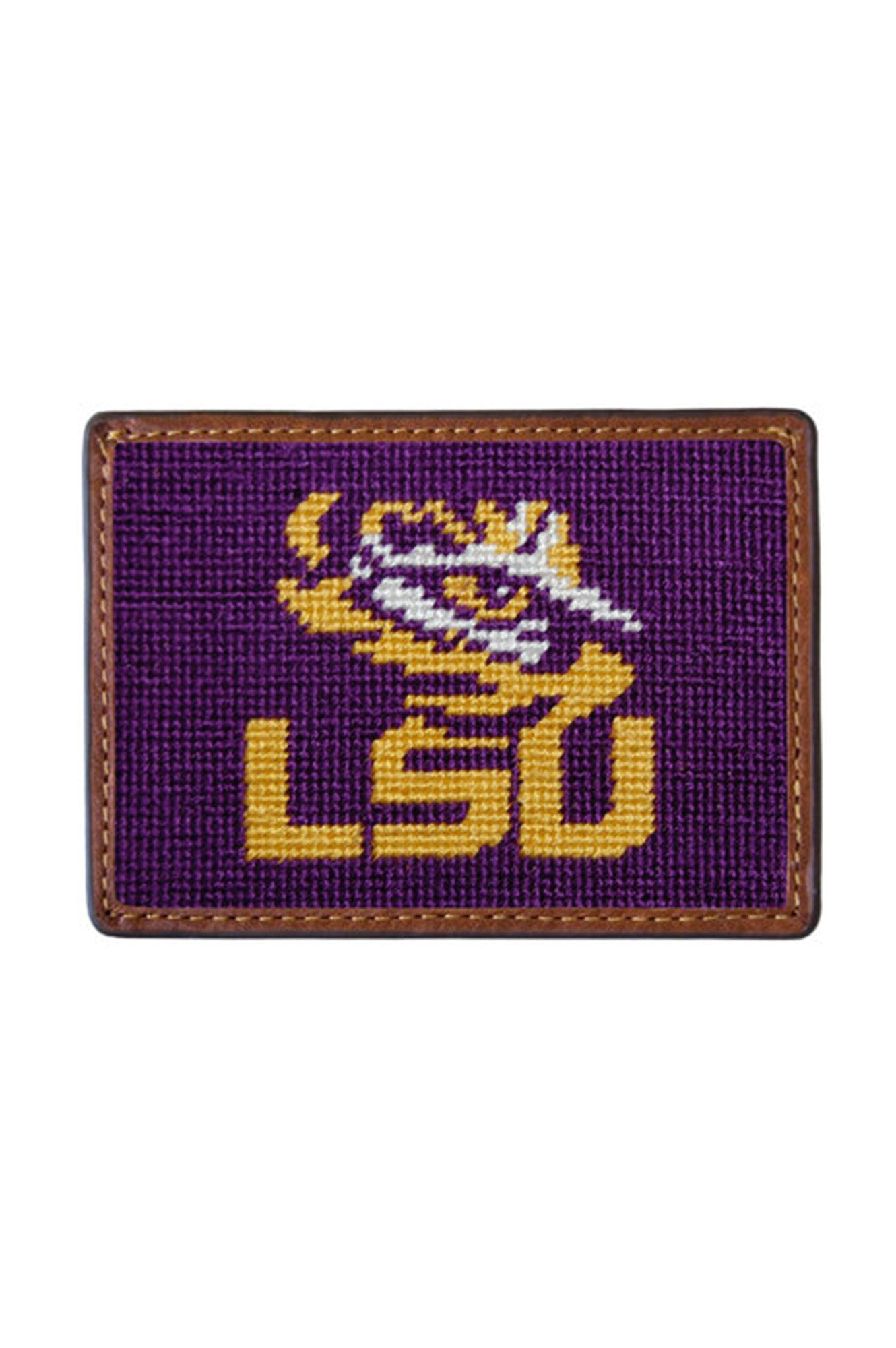 lsu needle point credit card wallet