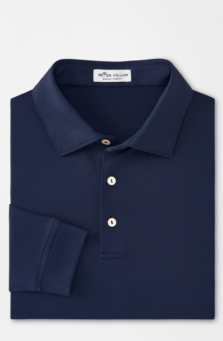 LYONS PERFORMANCE LONG SLEEVE POLO - NAVY
