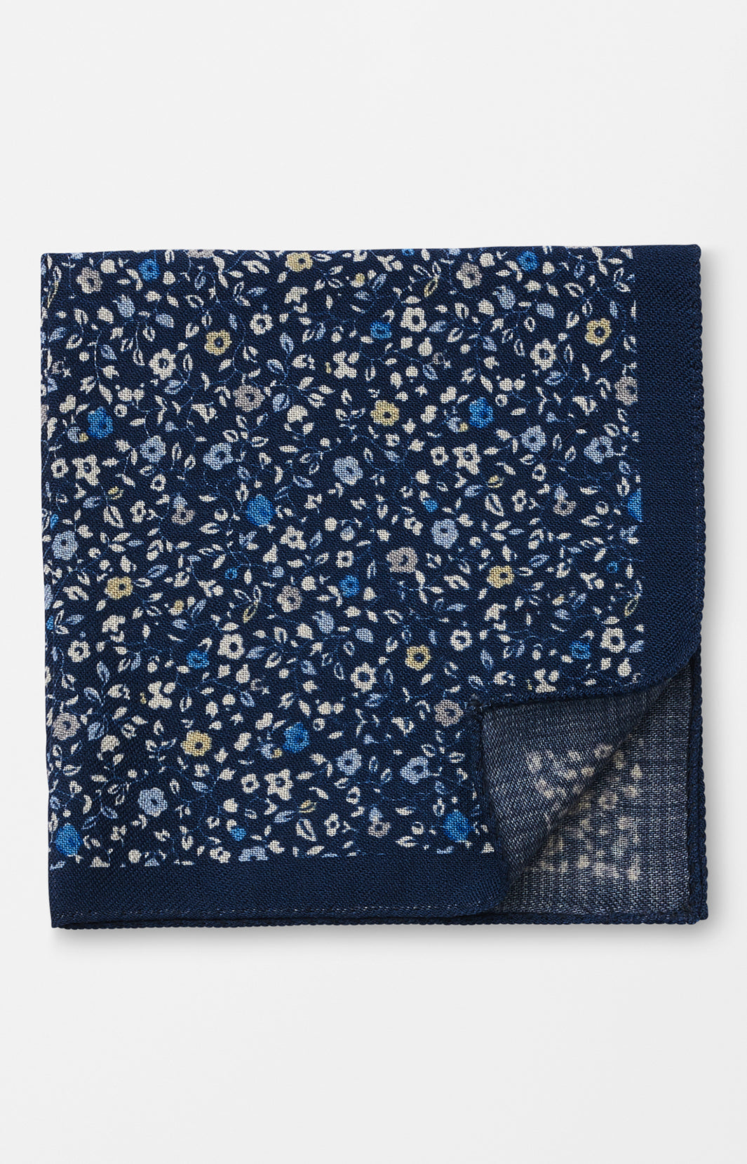 FALL FLORAL PRINT POCKET SQUARE - NAVY