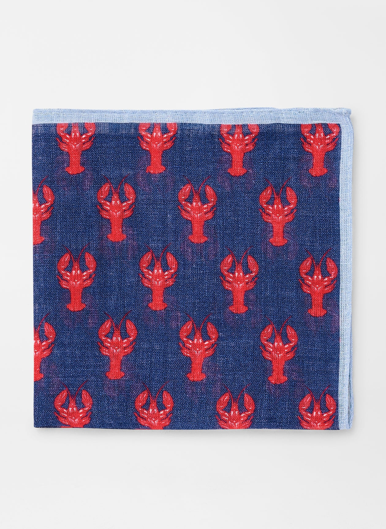 LOBSTER REPEAT POCKET SQUARE - NAVY