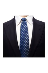 LIGHT BLUE ON NAVY GEOMETRIC PRINT SILK LINEN TIE