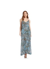 ICED CHEETAH CREPE SIDE-SLIT MAXI DRESS