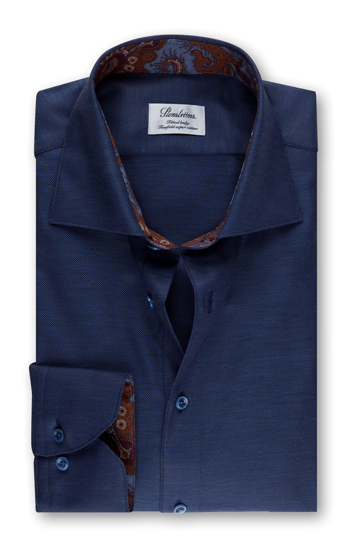 NAVY TWOFOLD COTTON SHIRT WITH CONTRAST