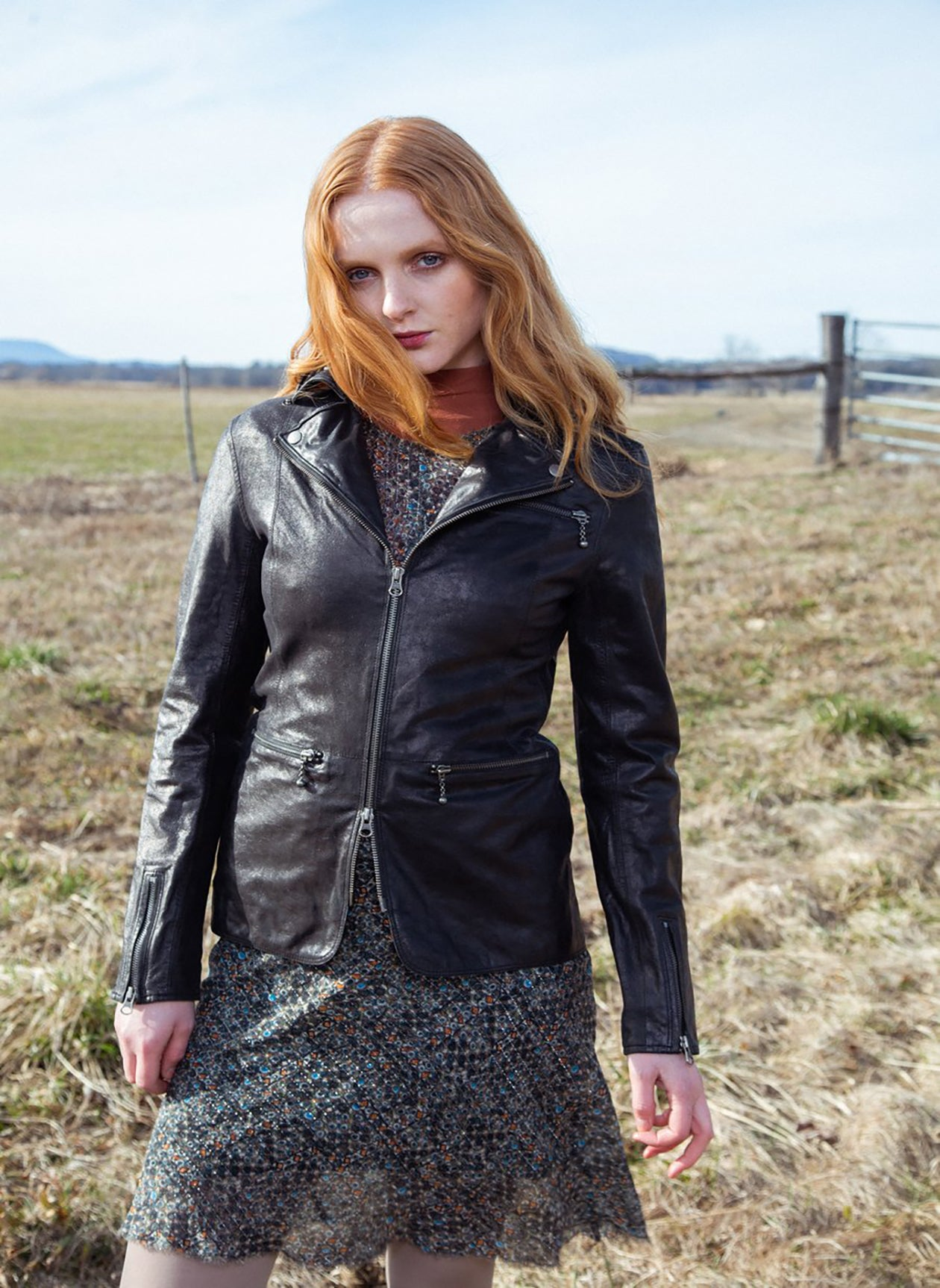 NICOLE NOVELTY LEATHER JACKET - BLACK SHIMMER