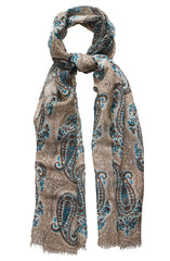 TURQUOISE AND TAUPE PAISLEY COTTON LINEN SCARF