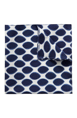 NAVY DROPS ON WHITE COTTON POCKET SQUARE