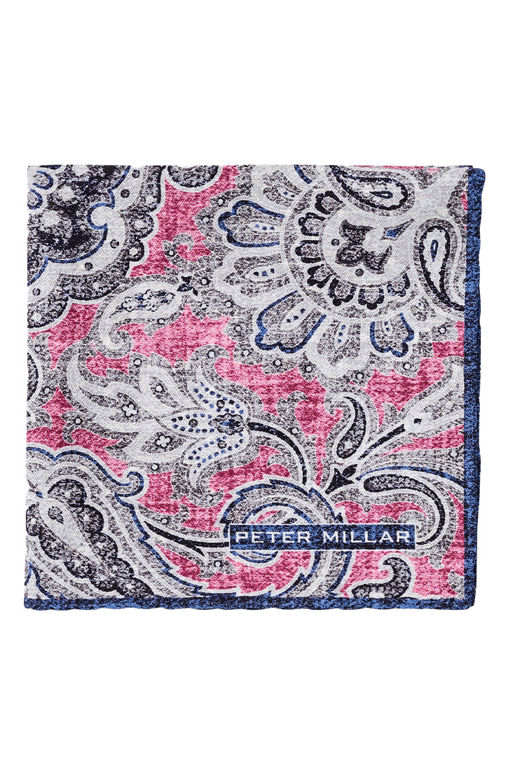 PIAZZETTA PAISLEY POCKET SQUARE - LAMPONE