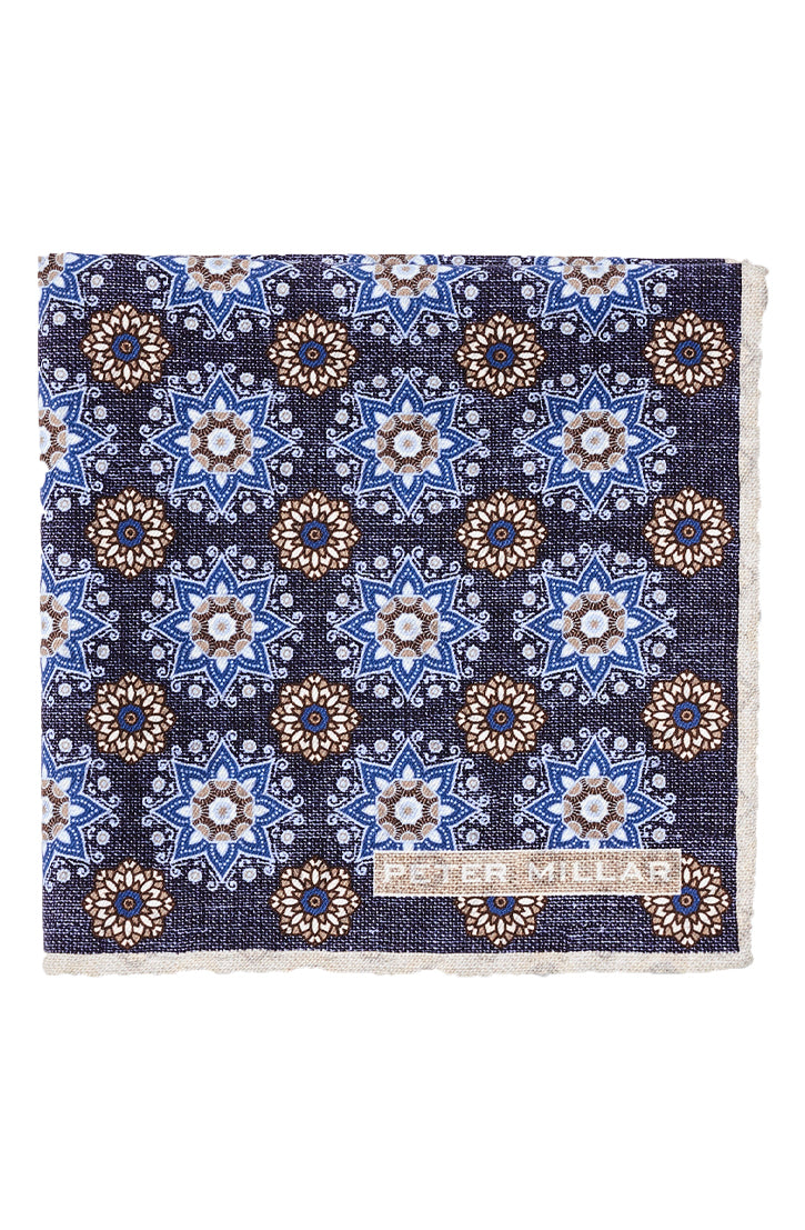 RUE MEDALLION POCKET SQUARE - BLEUET