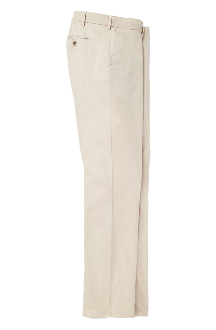 COTTON SILK FLAT FRONT TROUSER - STONE