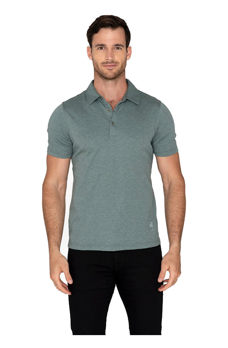 AQUA COTTON THREE BUTTON POLO - SAGE
