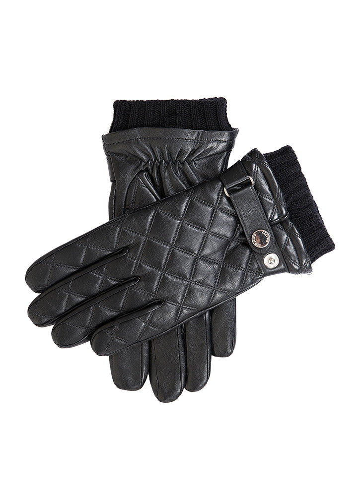 SALTFORD WOOL LINED QUILTED LEATHER GLOVES - BLACK
