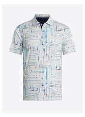 ABSTRACT DIGITAL PRINT SHORT SLEEVE SHIRT - SEAFOAM