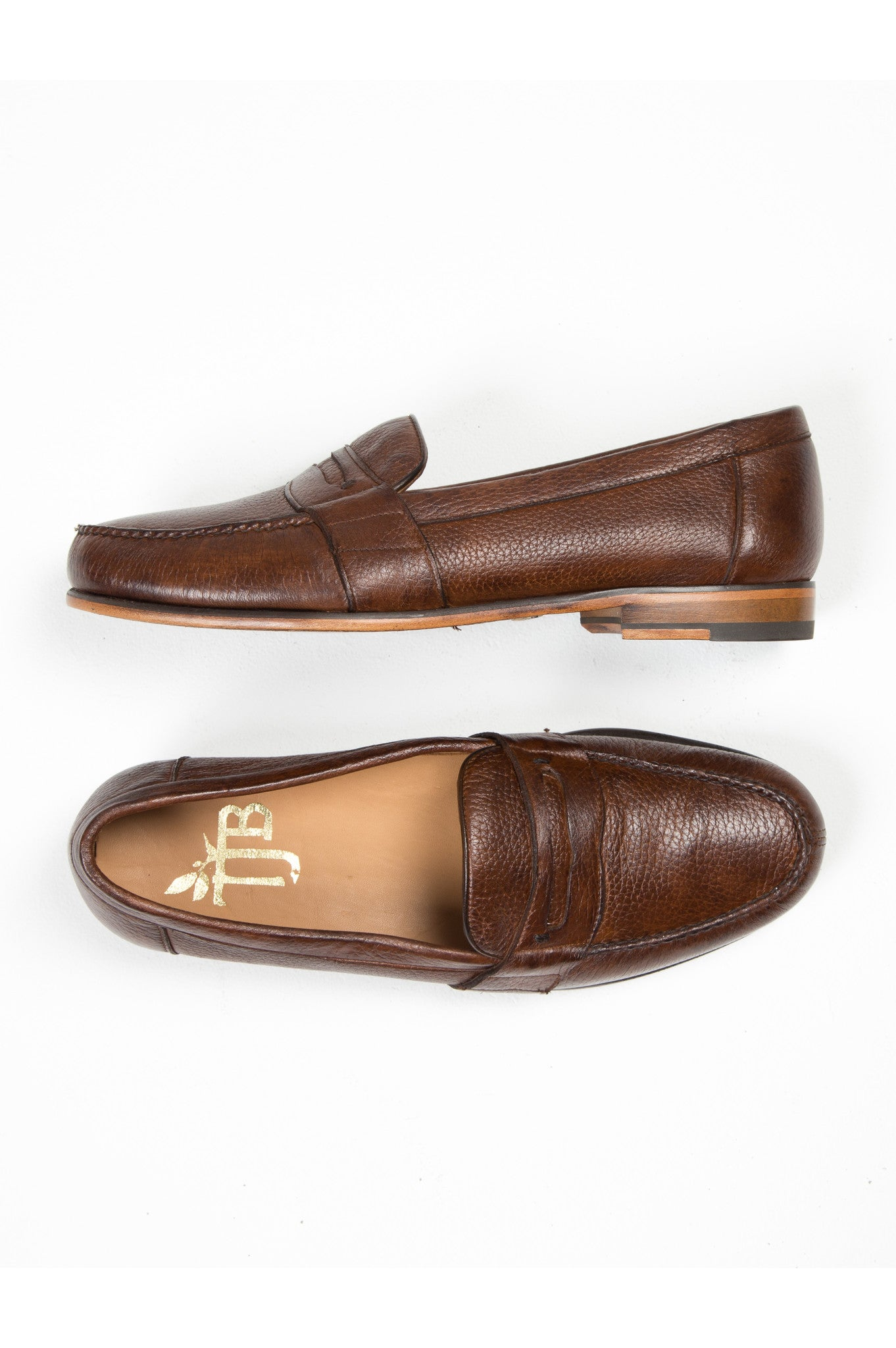 mens brown deer skin penny loafers