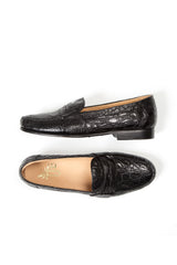 FRANCO CROC PENNY LOAFER - BLACK