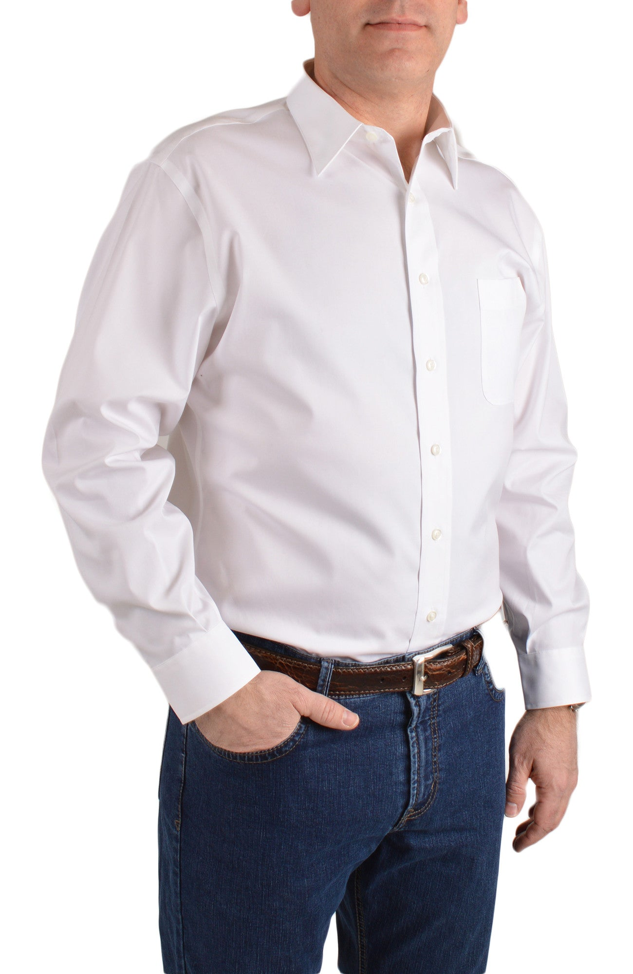 mens white casual button shirt