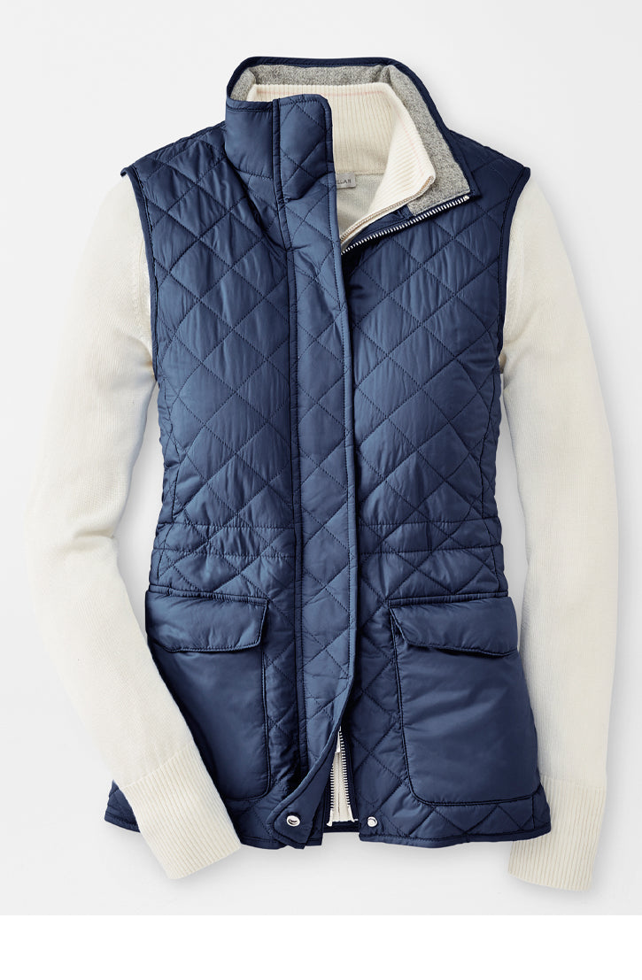 ADDISON QUILTED TRAVEL VEST - NAVY