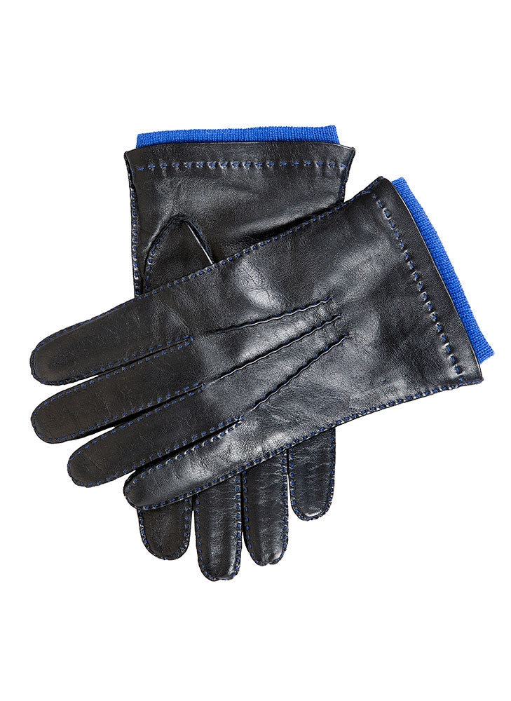 WESTMINSTER CASHMERE LINED CONTRAST LEATHER GLOVES - BLACK/ROYAL