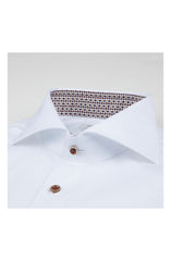 WHITE TWOFOLD COTTON SHIRT WITH CONTRAST