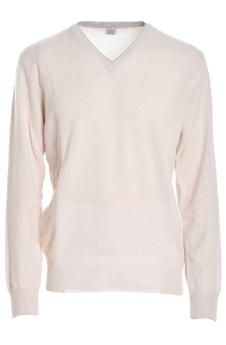 V-NECK CASHMERE SWEATER WITH TIPPING - CREAM