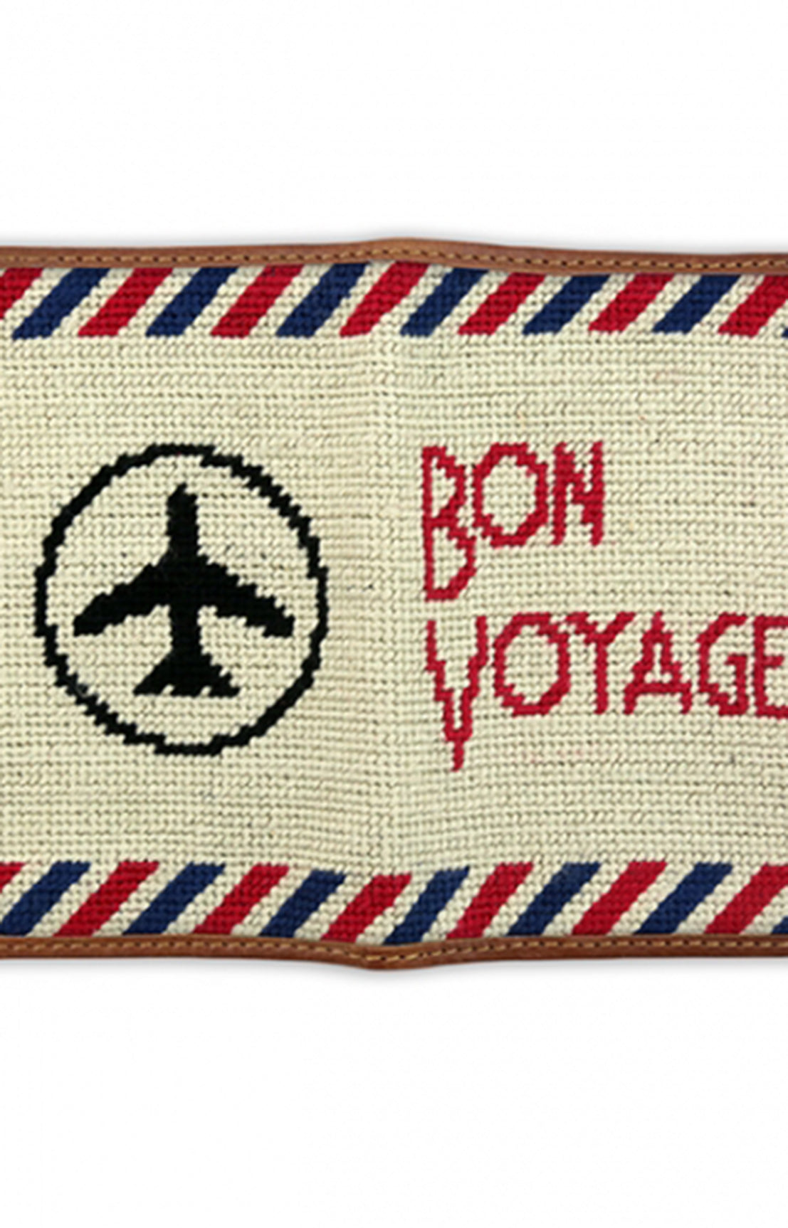 BON VOYAGE NEEDLEPOINT PASSPORT CASE - LIGHT KHAKI