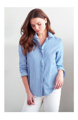 JULIAN CHENILLE STRIPE TIE TOP - BLUE/WHITE