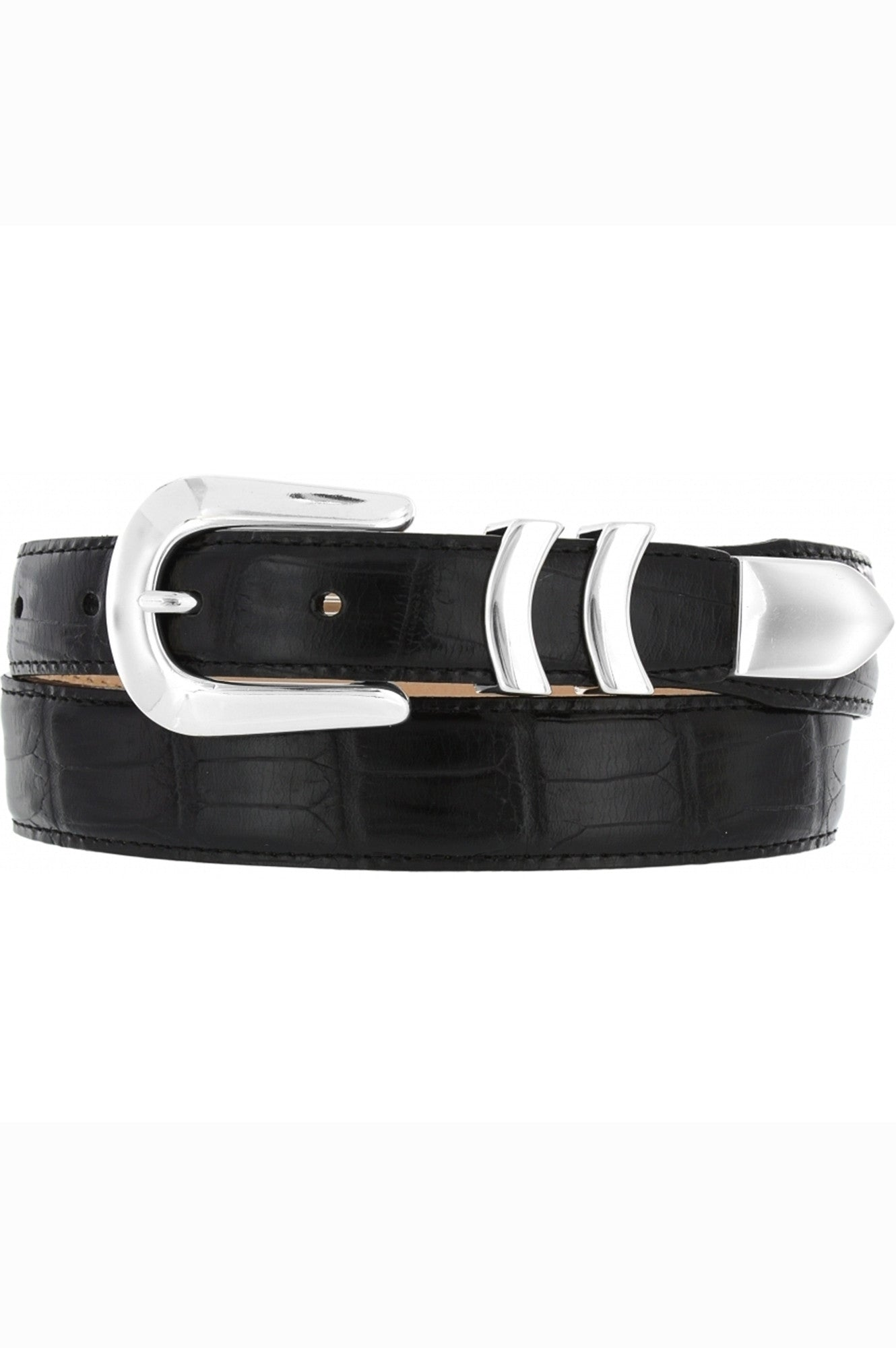 mens black leather belt, belts, mens leather goods, brighton belts, brighton leather, croc belt, black dress belt