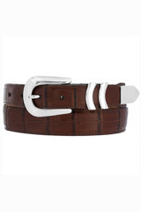 mens belt, leather belts, brighton, croc belt, brown dress belt, catera croc belt