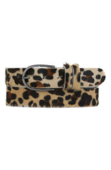 SAVANNA LEOPARD COWHIDE BELT - BLACK