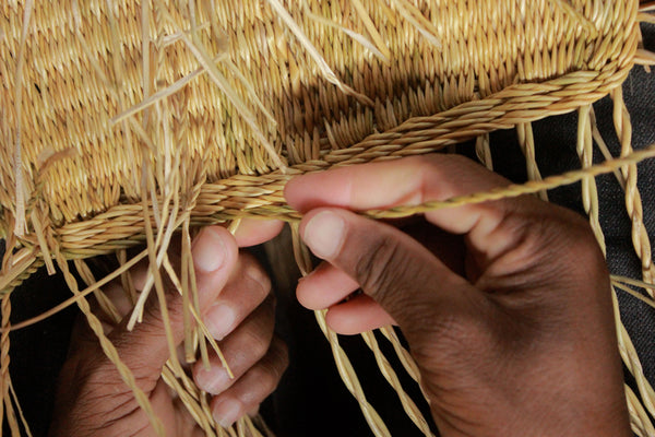 Basket being handwoven in east Africa