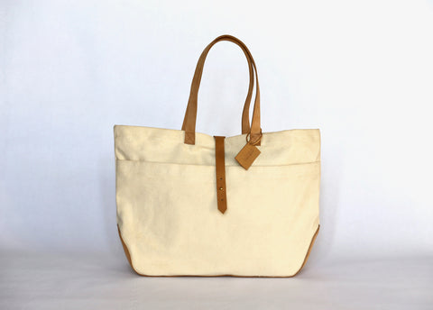 handmade canvas and leather travel tote