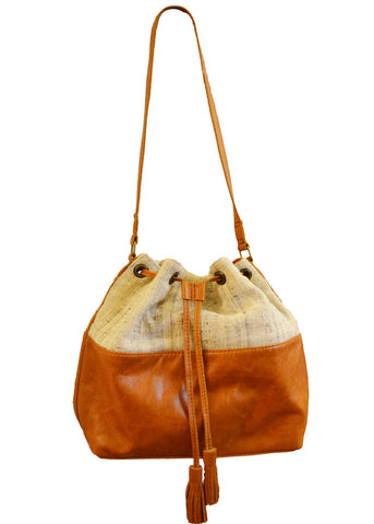 one of a kind handmade woven and leather bucket bag purse tan and cream
