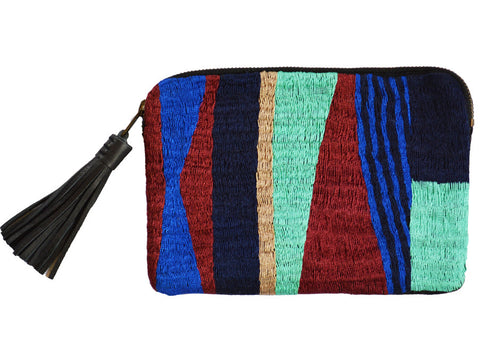 Mercado global color block handwoven and leather clutch purse with tassel