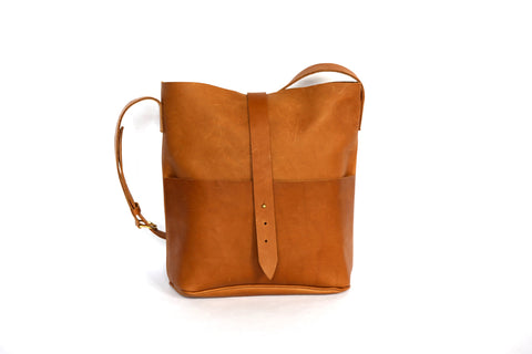 handmade brown leather bucket bag purse