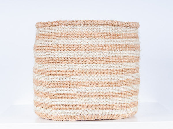 handwoven neutral striped African storage baskets