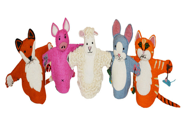 collection of handmade organic felt wool animal puppet toys