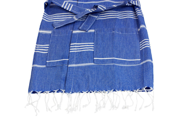 children's blue striped Turkish towel bathrobes with belt hood and tassels
