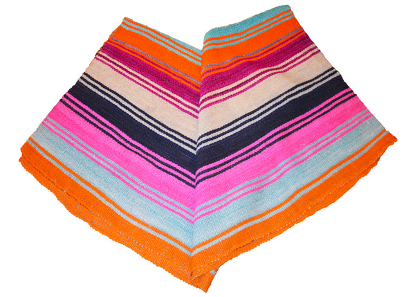 colorful handwoven striped blanket made in the Andes Mountains of Bolivia